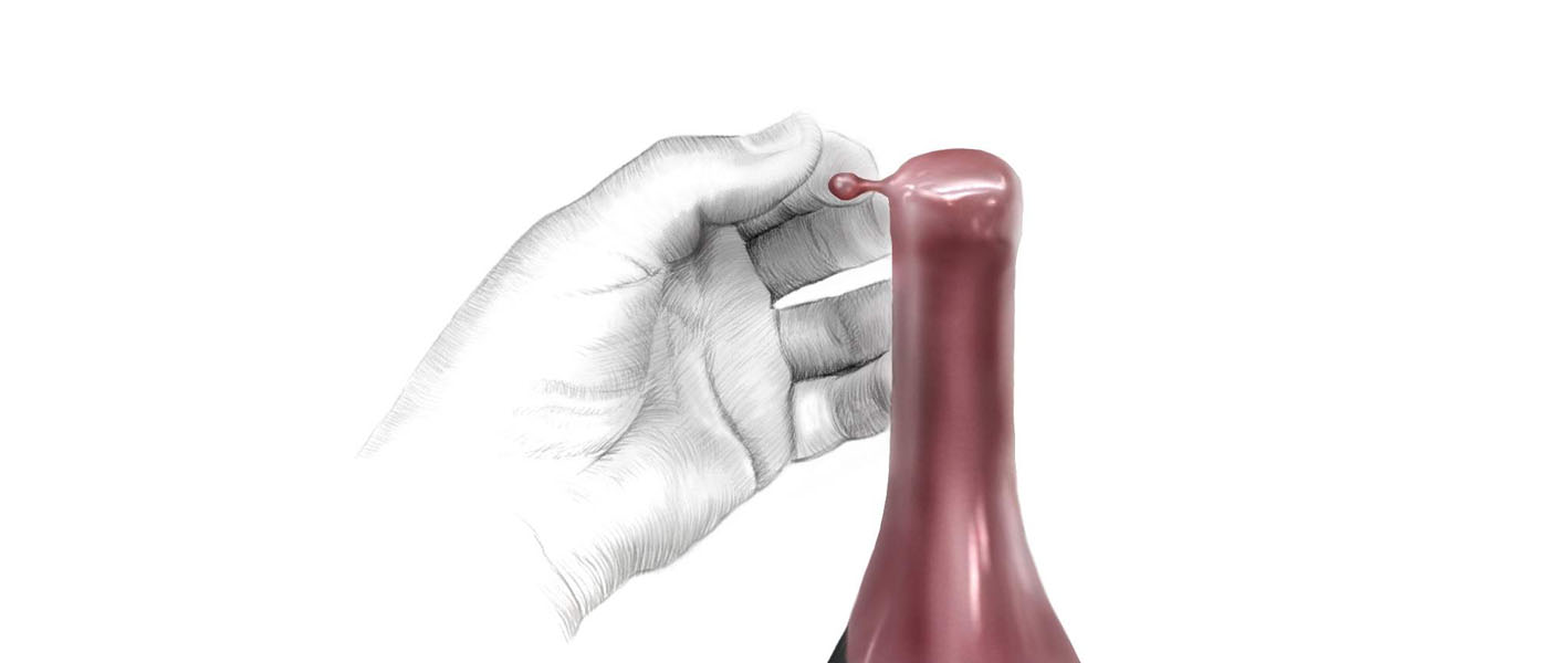 Sketch of hand and pull tab on Belle Glos wine bottle