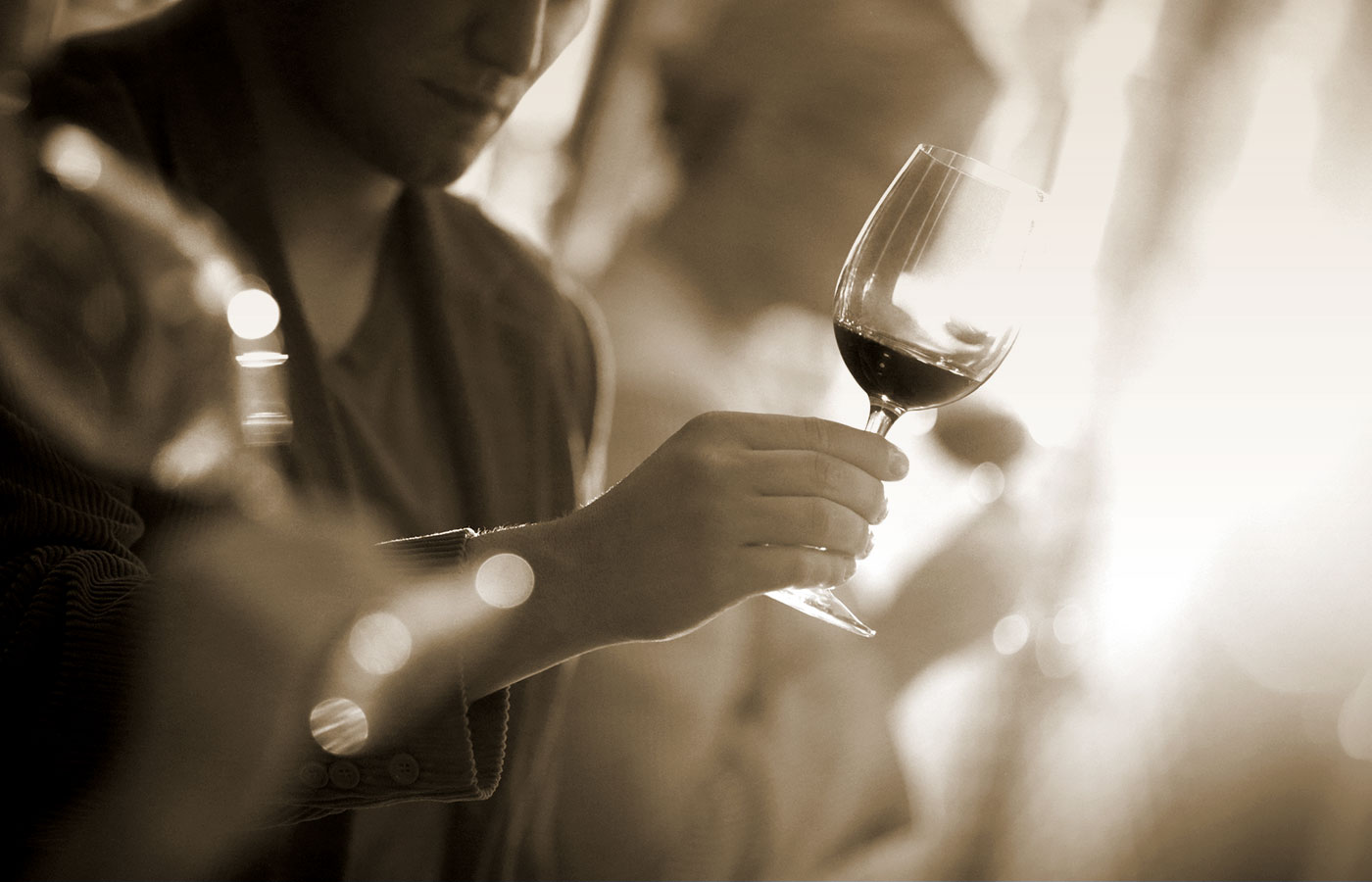 Lifestyle wine photo of man tasting red wine