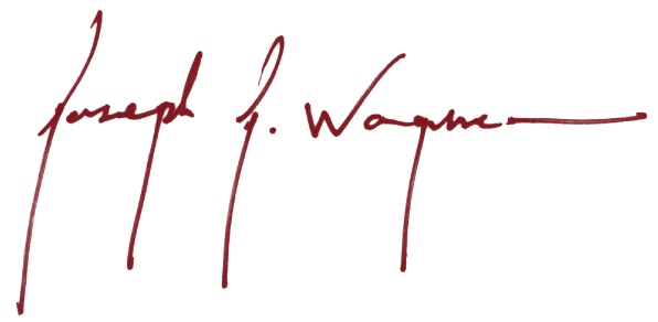 Joe Wagner signature in red